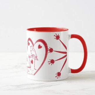 Design vermelho do amor dos corações do dia dos caneca