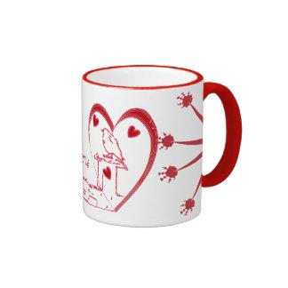 Design vermelho do amor dos corações do dia dos na caneca