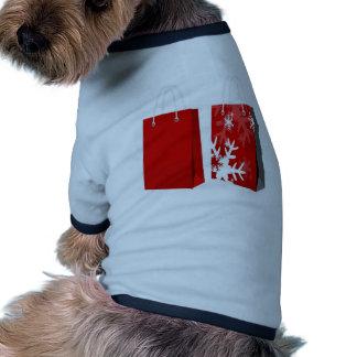 Design vermelho do saco do Natal Camisa Para Caes
