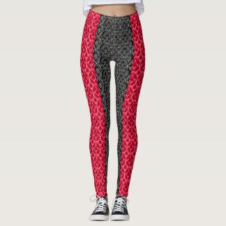 Design vermelho e preto na moda do teste padrão leggings