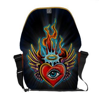 Design voado olho de observação do coração do anjo bolsas mensageiro