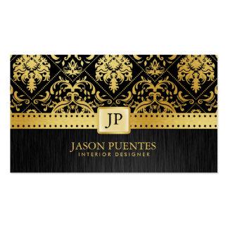 Designer de interiores elegante do damasco do cartão de visita