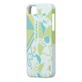 Designs florais abstratos - flores - azul capa para iPhone 5