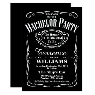 Despedida de solteiro preto & branco na moda da convite 12.7 x 17.78cm
