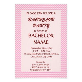 Despedida de solteiro - ziguezague cor-de-rosa, convite 8.89 x 12.7cm