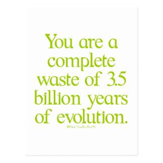 Desperdício da evolução cartão postal