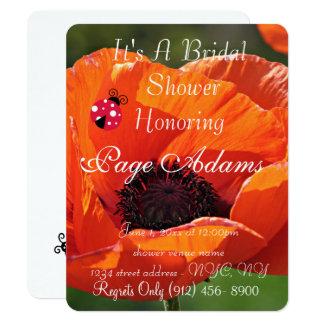 Destino romântico do chá de panela do joaninha da convite 10.79 x 13.97cm
