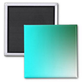 Desvanece-se: Verde escuro e claro - azul Ímã Quadrado