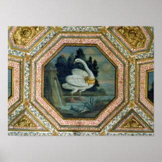 Detalhe da decoração do teto no salão de beleza poster