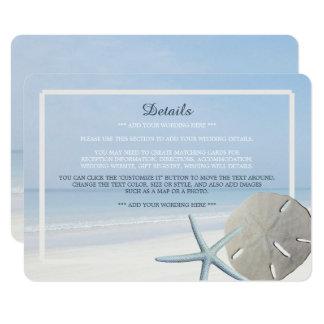 Detalhe do dólar de areia e do casamento de praia convite 11.30 x 15.87cm