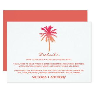 Detalhe tropical do casamento de praia da palmeira convite 11.30 x 15.87cm