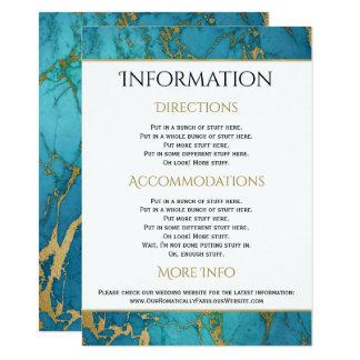 Detalhes azuis da informação do casamento do convite 11.30 x 15.87cm