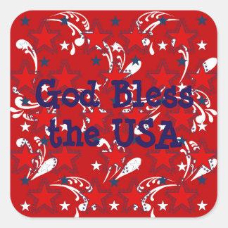 Deus abençoe a etiqueta dos EUA Adesivo Quadrado