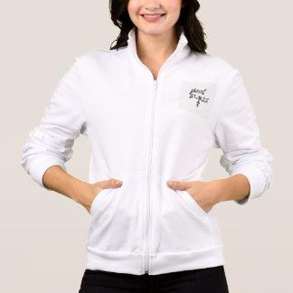 """Deus abençoe"" na jaqueta das mulheres"