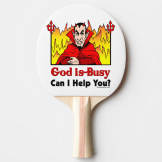 Deus sou ocupado, posso eu ajudá-lo? raquete de ping-pong