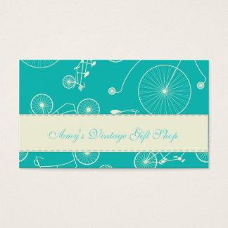 Dia azul do vintage na bicicleta do parque cartão de visitas