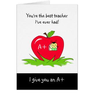 Dia bonito Apple da apreciação do professor para o Cartão Comemorativo