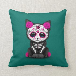Dia cor-de-rosa bonito do gato inoperante do gatin travesseiros