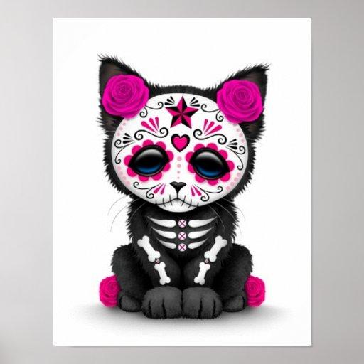 Dia cor-de-rosa bonito do gato inoperante do gatin posteres