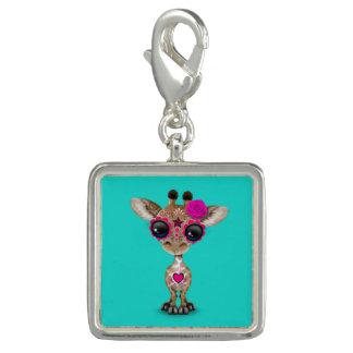 Dia cor-de-rosa do girafa inoperante do bebê pingentes com foto