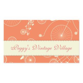 Dia coral do vintage na bicicleta do parque cartão de visita