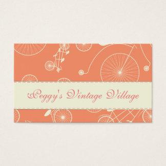 Dia coral do vintage na bicicleta do parque cartão de visitas