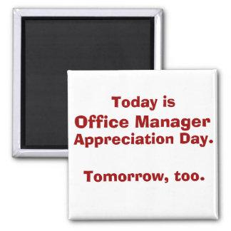 Dia da apreciação do gestor de escritório ímã quadrado