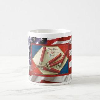 Dia da Independência do vintage, foguetes Caneca De Café