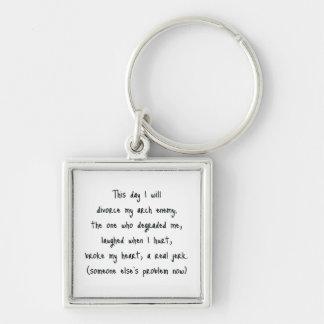 Dia da lembrança do divórcio chaveiro quadrado na cor prata