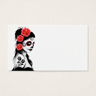 Dia da menina inoperante do crânio do açúcar cartão de visitas
