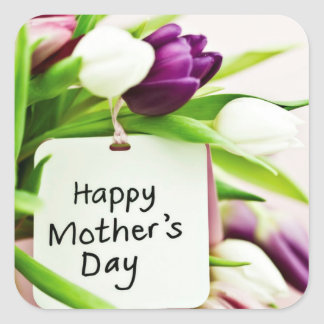 Dia das mães feliz adesivo quadrado