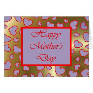 Dia das mães feliz com corações do amor para mães cartão comemorativo