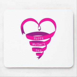 Dia das mães feliz, coração cor-de-rosa da fita mousepad
