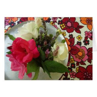 Dia das mães feliz: Flores & tecido do vintage Cartão De Nota