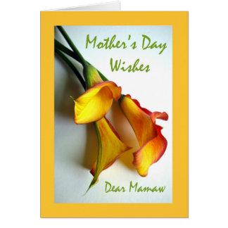 Dia das mães para Mamaw, lírios de Calla Cartão