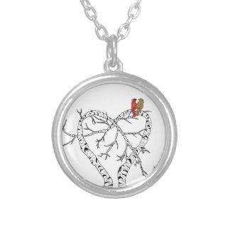 Dia das mães: Pássaros do amor na árvore do coraçã Colar Com Pendente Redondo