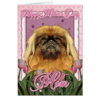 Dia das mães - Pekingese - seixos Cartão