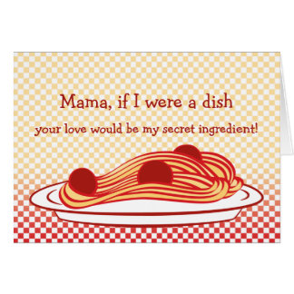 Dia das mães simbólico dos espaguetes cartão