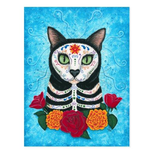 Dia do cartão inoperante da arte do gato do crânio cartões postais