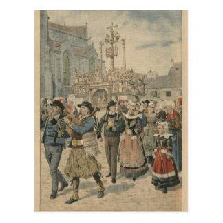 Dia do casamento em Plougastel Brittany Cartão Postal