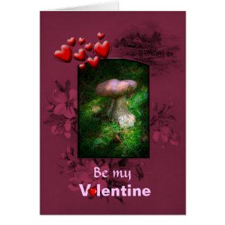Dia dos namorados, cogumelo feericamente da cartão comemorativo