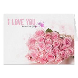 dia dos namorados cor-de-rosa do coração dos rosas cartão comemorativo