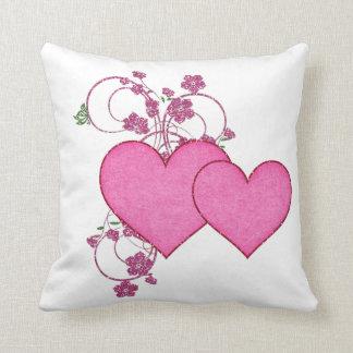 Dia dos namorados cor-de-rosa dobro do coração d travesseiros de decoração