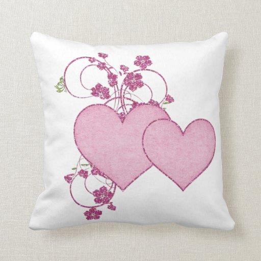 Dia dos namorados cor-de-rosa dobro do coração & d travesseiro de decoração
