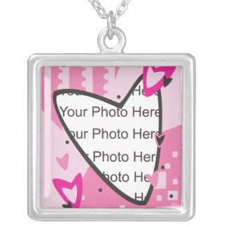 Dia dos namorados cor-de-rosa dos corações colar com pendente quadrado