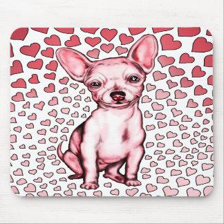 Dia dos namorados cor-de-rosa dos corações da chih mouse pads