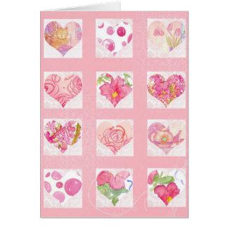 Dia dos namorados cor-de-rosa dos corações da flor cartões