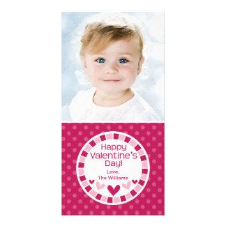 Dia dos namorados cor-de-rosa dos corações das bol cartão com foto
