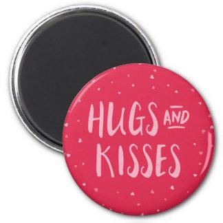 Dia dos namorados cor-de-rosa dos corações | dos ímã redondo 5.08cm