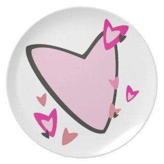 Dia dos namorados cor-de-rosa dos corações louças de jantar